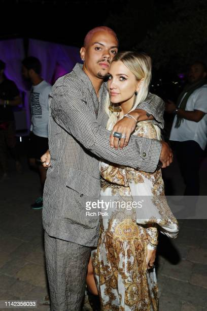 Evan Ross and Ashlee Simpson attend NYLON's Midnight Garden Party At Coachella Presented By Ketel One Botanical on April 12 2019 in Bermuda Dunes...