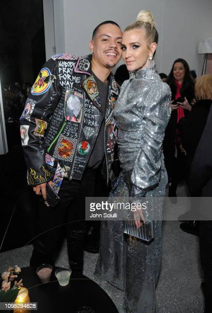 Evan Ross and Ashlee Simpson attend Spotify Best New Artist 2019 party at Hammer Museum on February 7 2019 in Los Angeles California