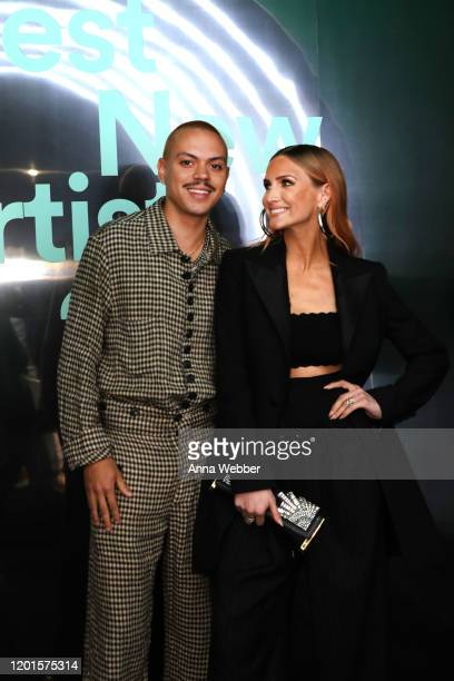 Evan Ross and Ashlee Simpson attend Spotify Hosts Best New Artist Party at The Lot Studios on January 23 2020 in Los Angeles California