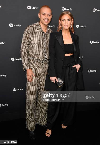 """Evan Ross and Ashlee Simpson attend Spotify Hosts """"Best New Artist"""" Party at The Lot Studios on January 23, 2020 in Los Angeles, California."""