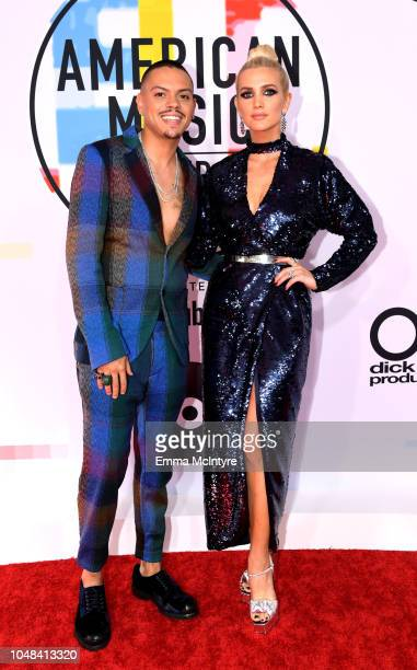 Evan Ross and Ashlee Simpson attend the 2018 American Music Awards at Microsoft Theater on October 9 2018 in Los Angeles California