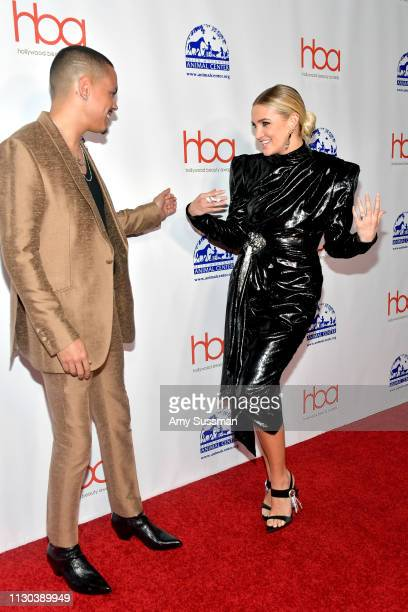Evan Ross and Ashlee Simpson attend the 2019 Hollywood Beauty Awards at Avalon Hollywood on February 17 2019 in Los Angeles California