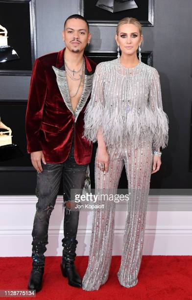 Evan Ross and Ashlee Simpson attend the 61st Annual GRAMMY Awards at Staples Center on February 10 2019 in Los Angeles California
