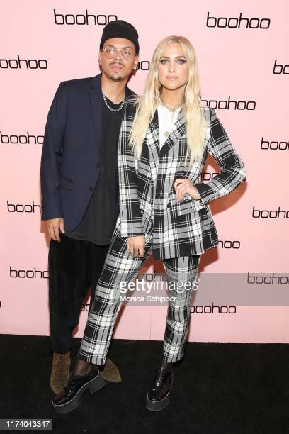 Evan Ross and Ashlee Simpson Ross attend the boohoo NYFW celebration at the boohoo Mansion on September 11 2019 in New York City