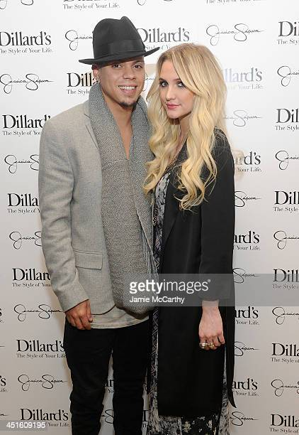 Evan Ross and Ashlee Simpson wearing Jessica Simpson Collection attend a Jessica Simpson Collection event at Dillard's on November 23 2013 in Dallas...