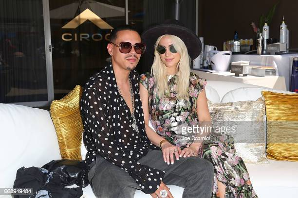 Evan Ross and Ashley Simpson celebrate A Toast to Summer with the NEW Limited Edition CIROC Summer Colada at the Hard Rock Hotel in Palm Springs on...