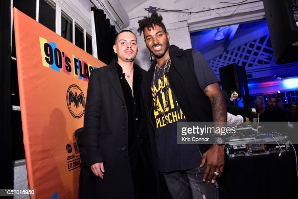 Evan Ross and DJ ruckus pose for a photo during the 'Food Network Cooking Channel New York City Wine Food Festival Presented By Capital One 90's...