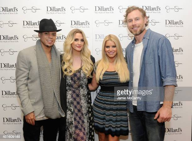 Evan Ross Ashlee Simpson Jessica Simpson and Eric Johnson attend a Jessica Simpson Collection event at Dillard's on November 23 2013 in Dallas Texas
