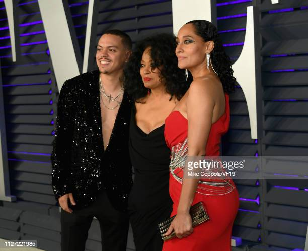 Evan Ross Diana Ross and Tracee Ellis Ross attend the 2019 Vanity Fair Oscar Party hosted by Radhika Jones at Wallis Annenberg Center for the...