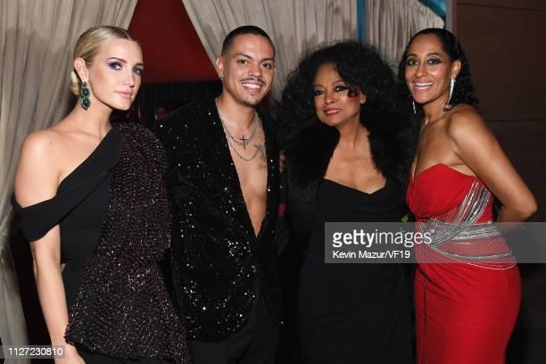 Evan Ross Diana Ross Rashida Jones and Tracee Ellis Ross attend the 2019 Vanity Fair Oscar Party hosted by Radhika Jones at Wallis Annenberg Center...