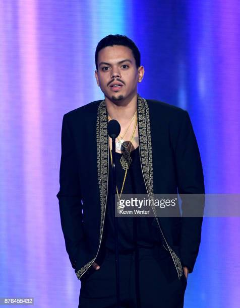 Evan Ross speaks onstage during the 2017 American Music Awards at Microsoft Theater on November 19 2017 in Los Angeles California