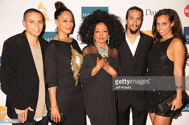 Evan Ross Tracee Ellis Ross Actress/Singer Diana Ross Ross Arne Naess and Chudney Ross arrive at Clive Davis and the Recording Academy's 2012...