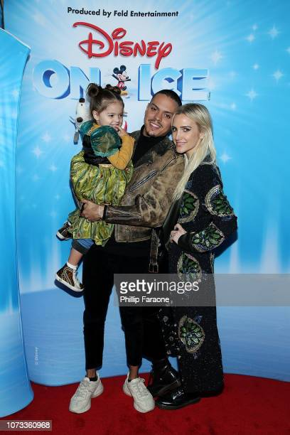Evan Ross with Ashlee Simpson and their daughter Jagger Snow Ross attend Disney On Ice Presents 'Dare To Dream' at Staples Center on December 14 2018...