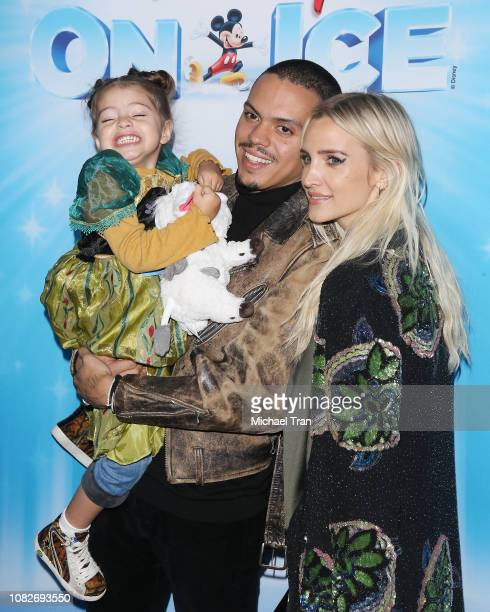 Evan Ross with Ashlee Simpson and their daughter Jagger Snow Ross attend Disney On Ice Presents 'Dare To Dream' held at Staples Center on December 14...