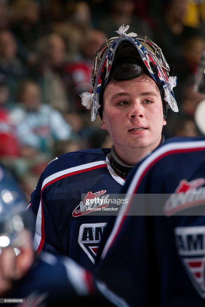 Evan Sarthou #31 of the Tri-City Americans stands at the bench against the Kelowna Rockets on March 4, 2017 at Prospera Place in Kelowna, British Columbia, Canada.