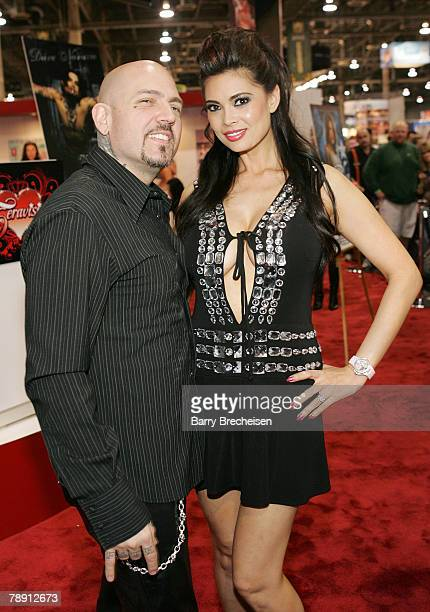 Evan Seinfeld and Tera Patrick at the Teravision booth in the Sands Expo Center at the 2008 AVN Adult Entertainment Expo on January 11 2007 in Las...