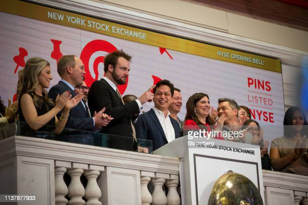 Evan Sharp cofounder and chief creative officer of Pinterest Inc third left and Ben Silbermann cofounder and chief executive officer of Pinterest Inc...
