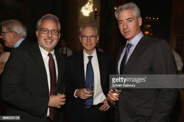 Evan Sohn, Charles Sawyers and Bill Ackman attend Pershing Square Sohn 4th Annual Prize Dinner at Park Avenue Armory on May 24, 2017 in New York City.