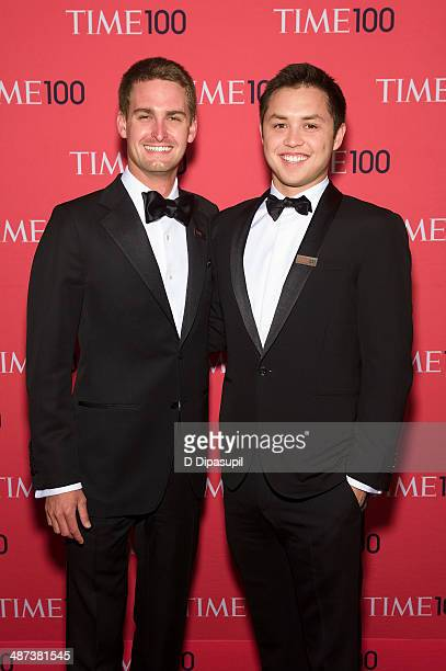 Evan Spiegel and Bobby Murphy attend the 2014 Time 100 Gala at Frederick P Rose Hall Jazz at Lincoln Center on April 29 2014 in New York City