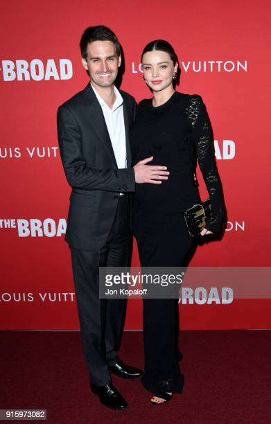 Evan Spiegel and Miranda Kerr attend The Broad and Louis Vuitton's celebration of Jasper Johns Something Resembling Truth at The Broad on February 8...