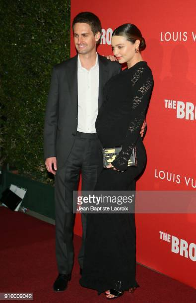 Evan Spiegel and Miranda Kerr attend The Broad and Louis Vuitton's celebration of Jasper Johns 'Something Resembling Truth' at The Broad on February...