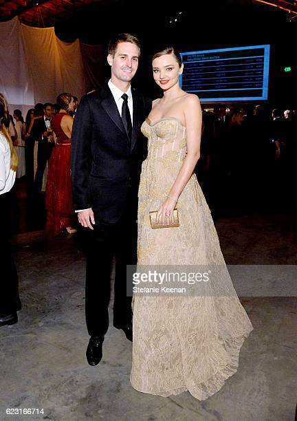 Evan Spiegel and Miranda Kerr attend the Fifth Annual Baby2Baby Gala Presented By John Paul Mitchell Systems at 3LABS on November 12 2016 in Culver...