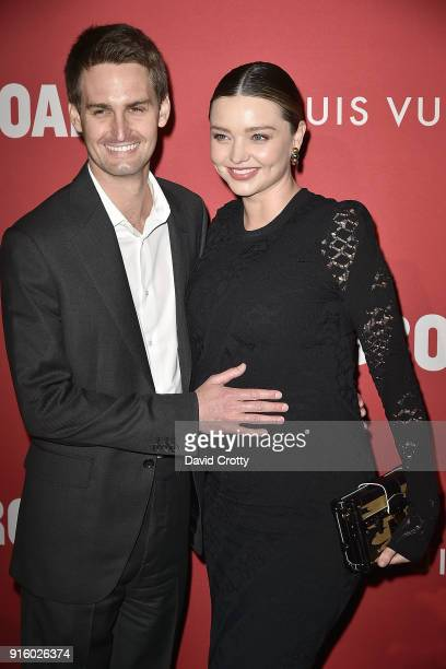 Evan Spiegel and Miranda Kerr attend the Jasper Johns 'Something Resembling Truth' opening reception at The Broad on February 8 2018 in Los Angeles...