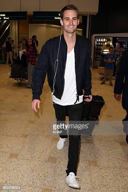 Evan Spiegel is seen upo arrival at Sydney International Airport on December 22 2015 in Sydney Australia