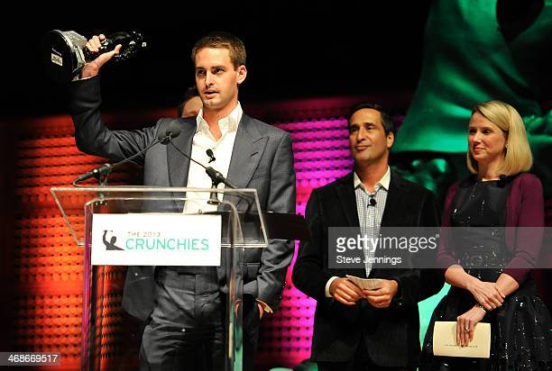 Evan Spiegel of Snapchat wins the award for Best Mobile Application at the 7th Annual Crunchies Awards at Davies Symphony Hall on February 10 2014 in...