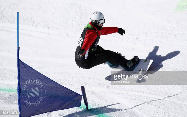 Evan Strong competes in the adaptive banked slalom final during Day 3 of the Dew Tour on December 15 2017 in Breckenridge Colorado