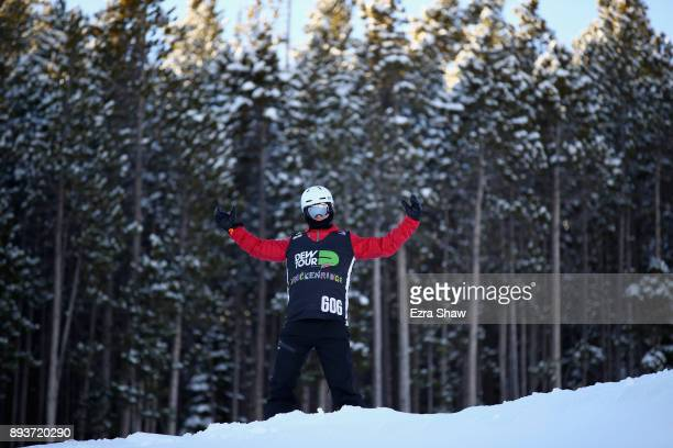 Evan Strong inspects the course before the start of the adaptive banked slalom final during Day 3 of the Dew Tour on December 15 2017 in Breckenridge...