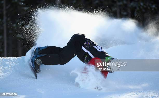 Evan Strong loses his balance in the adaptive banked slalom final during Day 3 of the Dew Tour on December 15 2017 in Breckenridge Colorado