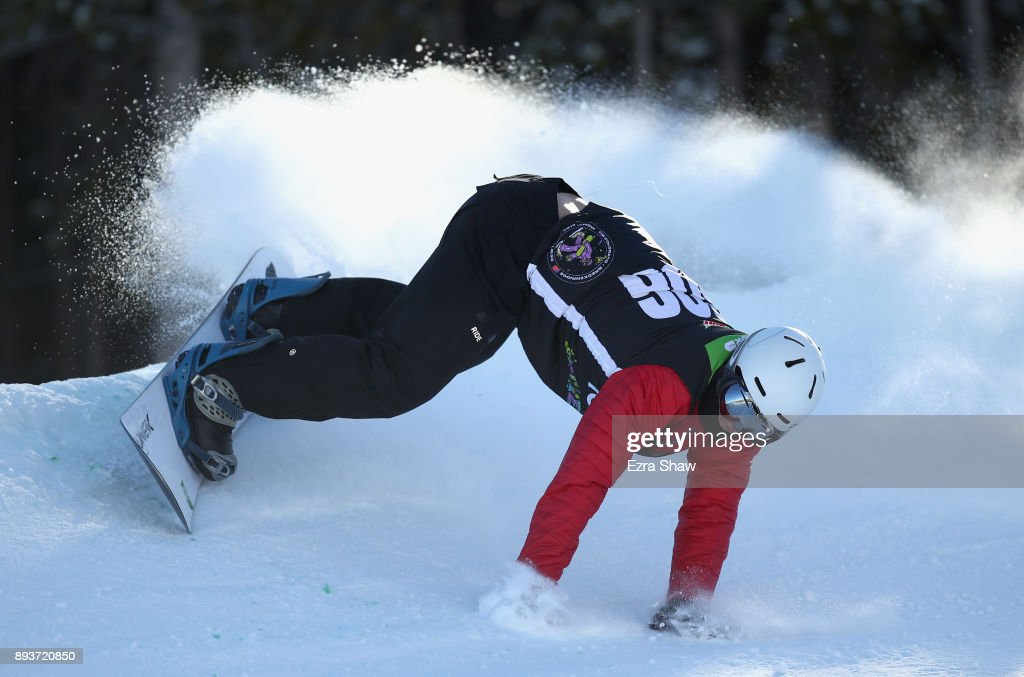 Evan Strong loses his balance in the adaptive banked slalom final during Day 3 of the Dew Tour on December 15, 2017 in Breckenridge, Colorado.