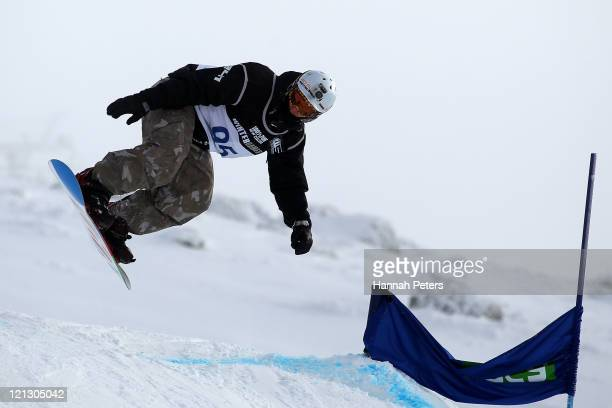 Evan Strong of the United States of America competes in the Snowboard Cross Adaptive Standing Men during day six of the Winter Games NZ at Cardrona...