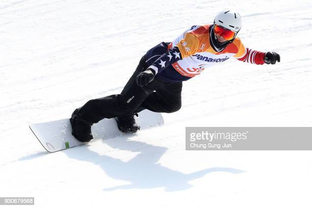 Evan Strong of United States competes in the Men's Snowboard Cross at the Jeongseon Alpine Centre during day three of the PyeongChang 2018 Paralympic...