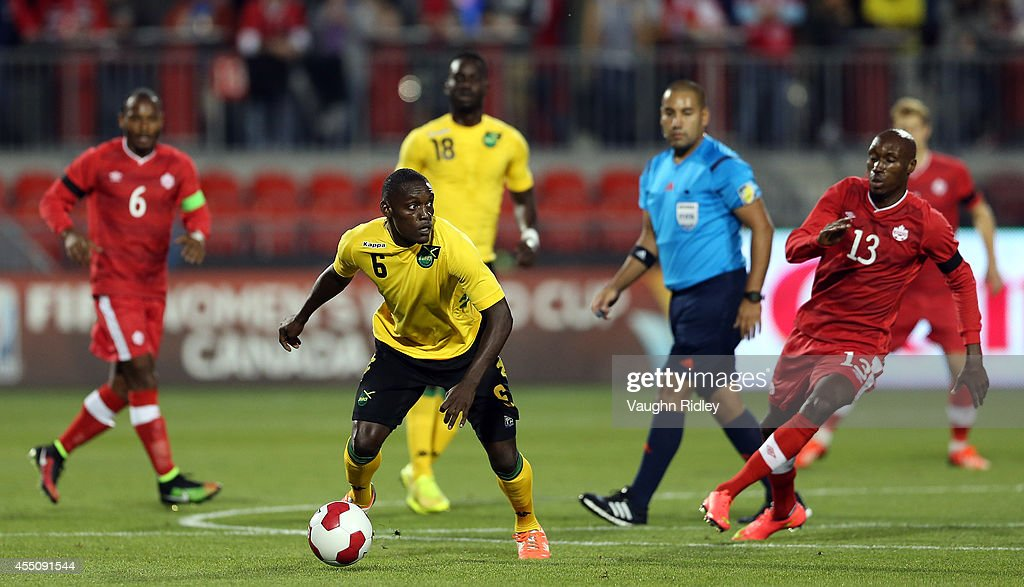 Evan Taylor of Jamaica looks to pass during the International Friendly match between Canada and Jamaica at BMO Field on September 09, 2014 in Toronto, Ontario, Canada.