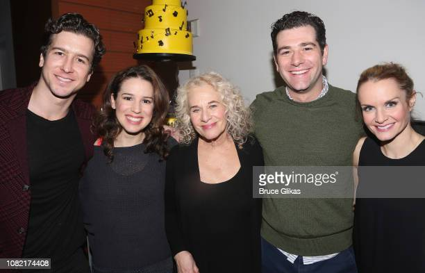 Evan Todd Chilina Kennedy Carole King Ben Jacoby and Kate Reinders pose at the 5th Anniversary Celebration party for BeautifulThe Carole King Musical...