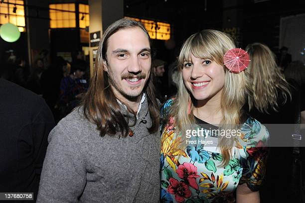 Evan Trindl of ASCAP and Lucy Alper attend the ASCAP Composer and Filmmaker Cocktail Party at Sundance ASCAP Music Cafe on January 24 2012 in Park...
