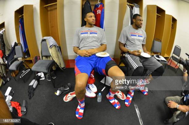 Evan Turner and Taddeus Young of the Philadelphia 76ers get ready for the game against the Oklahoma City Thunder during the game at the NBA Global...