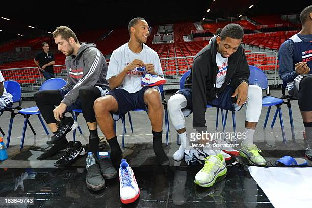 Evan Turner and Tim Ohlbrecht of the Philadelphia 76ers practice at the Bilbao Exhibition Center NBA Global Games on October 4 2013 in Bilbao Spain...