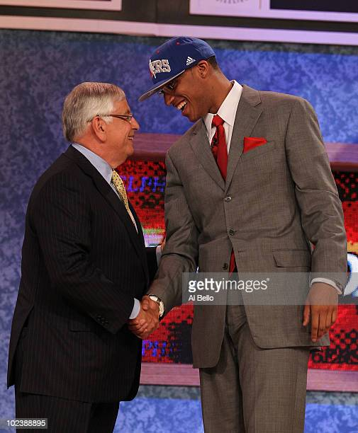 Evan Turner of Ohio State stands with NBA Commisioner David Stern after being drafted second overall by the Philadelphia 76ers at Madison Square...
