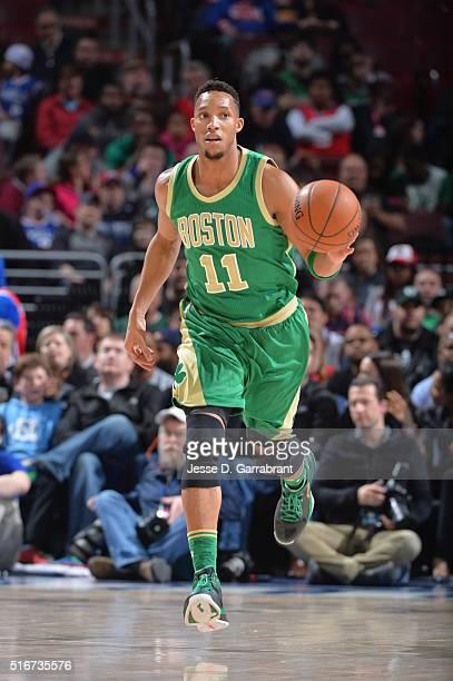 Evan Turner of the Boston Celtics dribbles up court against the Philadelphia 76ers at Wells Fargo Center on March 20 2016 in Philadelphia...
