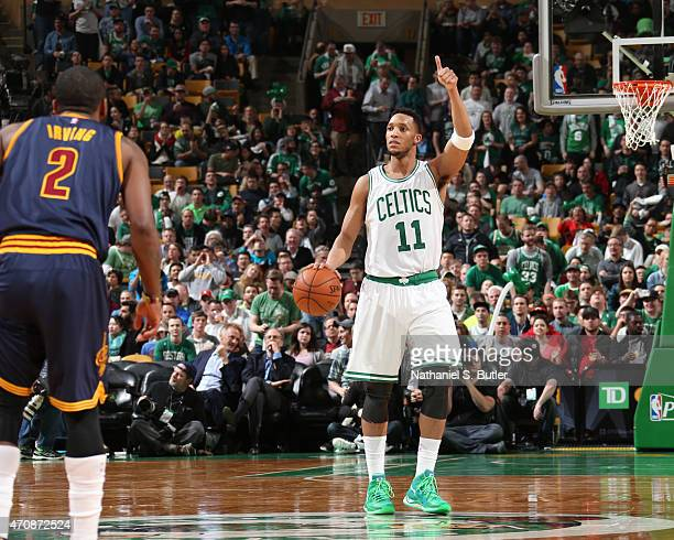Evan Turner of the Boston Celtics handles the ball against the Cleveland Cavaliers during Game Three of the Eastern Conference Quarterfinals of the...