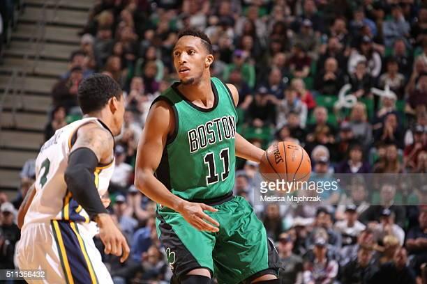 Evan Turner of the Boston Celtics handles the ball against Trey Burke of the Utah Jazz on February 19 2016 at vivintSmartHome Arena in Salt Lake City...