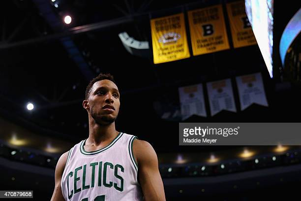 Evan Turner of the Boston Celtics looks on during the fourth quarter against the Cleveland Cavaliers in the first round of the 2015 NBA Playoffs at...