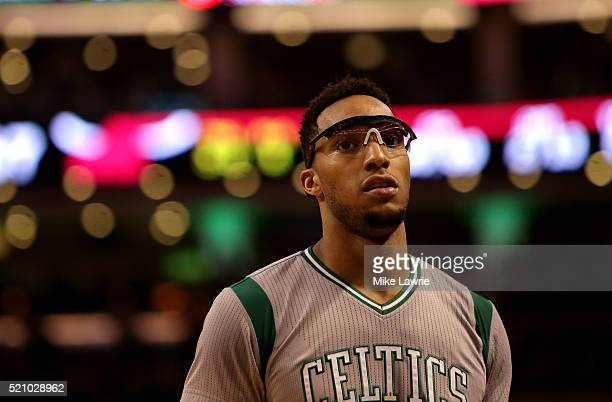 Evan Turner of the Boston Celtics looks on in the third quarter against the Miami Heat at TD Garden on April 13 2016 in Boston Massachusetts NOTE TO...
