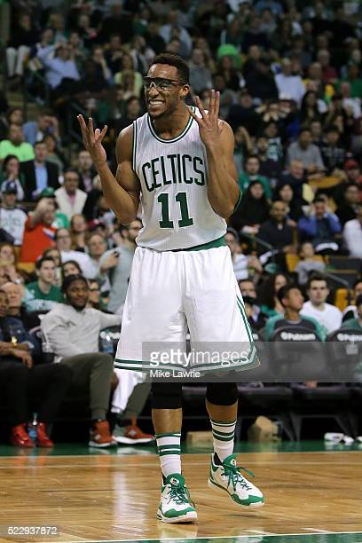 Evan Turner of the Boston Celtics reacts to a foul call in the fourth quarter against the Charlotte Hornets at TD Garden on April 11 2016 in Boston...