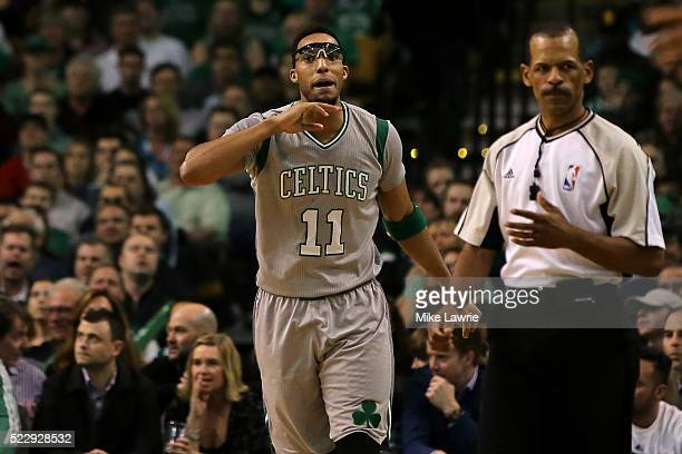 Evan Turner of the Boston Celtics speaks to an official after a play in the third quarter against the Miami Heat at TD Garden on April 13 2016 in...