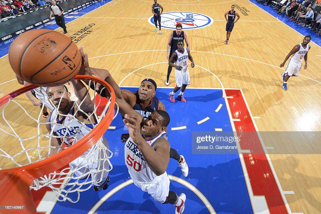 Evan Turner #12 of the Philadelphia 76ers drives to the basket against the Charlotte Bobcats at the Wells Fargo Center on February 9, 2013 in Philadelphia, Pennsylvania.