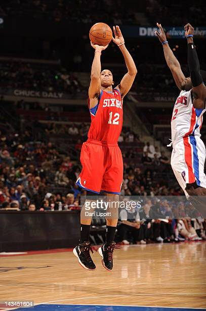 Evan Turner of the Philadelphia 76ers during the game between the Detroit Pistons and the Philadelphia 76ers on April 26 2012 at The Palace of Auburn...